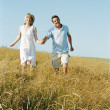 Couple walking outdoors holding hands smiling — Stock Photo #4771230