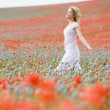 Woman walking in poppy field smiling - Stock Photo