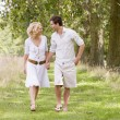 Couple walking on path holding hands smiling - Stock Photo
