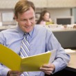 Businessman in cubicle with folder smiling — Stockfoto