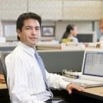 empresário em cubículo com laptop — Foto Stock