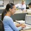 Businesswoman in cubicle using laptop smiling - Photo