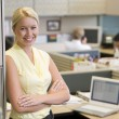 Businesswoman standing in cubicle smiling — Stock Photo #4772010
