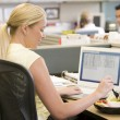 Businesswoman in cubicle using laptop and eating salad - Stockfoto