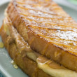 Peanut Butter And Banana Eggy Bread Sandwich With Syrup — Stock Photo #4777542