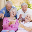 Two couples on patio drinking champagne and smiling — Stock Photo
