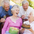 Two couples on patio with cake and gift smiling — Stock Photo #4778074