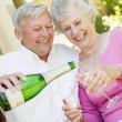 Couple on patio drinking champagne and smiling - Stock Photo