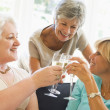 Three women in living room toasting champagne and smiling - Stock Photo