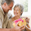 Husband giving wife gift in living room smiling - ストック写真