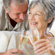 Couple in living room toasting champagne and smiling - Stock Photo