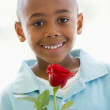 Young boy holding rose smiling — Stock Photo