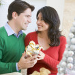 图库照片: Husband Surprising Wife With Christmas Present