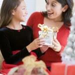 dívka divu, její matka s vánoční dárek — Stock fotografie