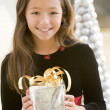 图库照片: Young Girl Smiling,Holding Christmas Gift