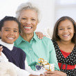Grandmother Sitting With Her Two Grandchildren,Holding A Christm - Stock Photo