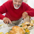 Man Carving Roast Chicken — Stock Photo