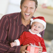 Father With Son In Santa Outfit — Stock Photo