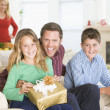 Portrait Of Family At Christmas - Stock Photo