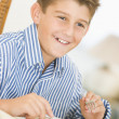 Stock Photo: Boy At Christmas Dinner