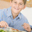 Boy At Christmas Dinner — Stock Photo