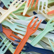 Stock Photo: Pile Of Coloured Plastic Take Away Forks