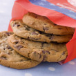 Bag Of Milk Chocolate Chip Cookies — Stock Photo
