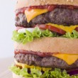 Stock Photo: Double Cheese Burger In Sesame Seed Bun