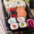 图库照片: Take Away Sushi Tray