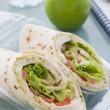 Chicken Salad Tortilla Wrap With A Green Apple And Water — Stock Photo