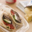 Stock Photo: Steak, Cheese, Red Pepper And Barbeque Sauce TortillWrap With