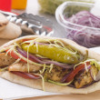 Stock Photo: Marinated Chicken Kebab In PittBread With Salad And Pickle