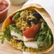 Stock Photo: Spiced Cous Cous And Grilled Halloumi TortillWrap