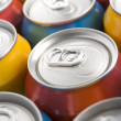 Close Up Of Multi Colored Soda Cans - Foto Stock