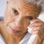 Woman Wiping Away Tears — Stock Photo