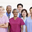Hospital Staff Standing Outside A Hospital - Foto Stock