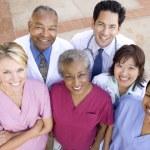 High Angle View Of Hospital Staff Standing Outside A Hospital — Stock Photo