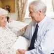 Stock Photo: Senior MSitting With His Wife In Hospital
