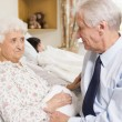Senior Man Sitting With His Wife In Hospital — Stock Photo