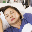 Senior Woman Asleep In Hospital Bed — Stock Photo