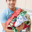 Man Doing Laundry — Stock Photo