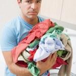Man Upset Doing Laundry — Stock Photo
