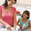 Stock Photo: Mother And Daughter Ironing