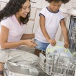 Mother And Daughter Loading Dishwasher — Stockfoto