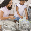 Stock Photo: Mother And Daughter Loading Dishwasher