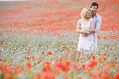 Couple in poppy field embracing and smiling — Stok fotoğraf