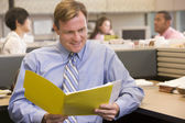 Businessman in cubicle with folder smiling — Stock Photo