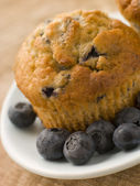 Blueberry Muffin On A Plate With Blueberries — Stock fotografie