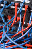 Computer Cables Chaotically Plugged In To The Back Of A Server — Stock Photo