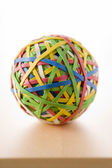 Rubber Band Ball Sitting On Desk — Stockfoto